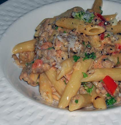 Penne-in-Cream-Sauce-with-Sausage