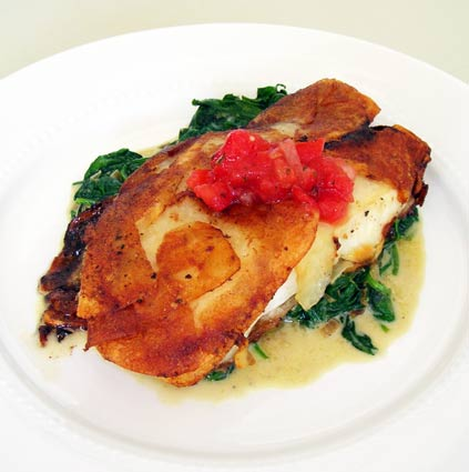 Potato-Wrapped Halibut With Sauteed Spinach Recipes — Dishmaps