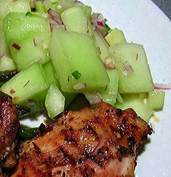 Sticky Coconut Chicken with Melon Salad