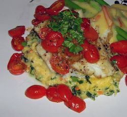 Seared-Halibut-with-Roasted-Pearl-Tomatoes