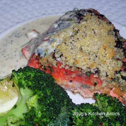 Herb-Crusted-Salmon-with-Dill-Sauce