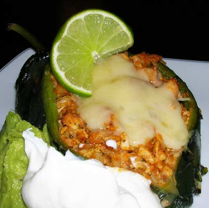 Poblanos-Stuffed-with-Chicken-and-Cheddar