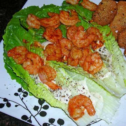 Roasted-Buffao-Shrimp-on-Caesar-Salad