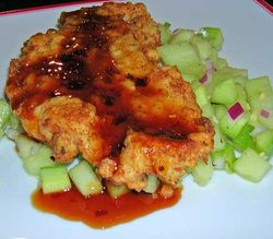 Honeydew-Cucumber-Salad-w-Chicken-Paillards-and-Chili-Glaze