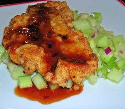 Honeydew-Cucumber-Salad-w-Chicken-Paillards-and-Chili-Glaze