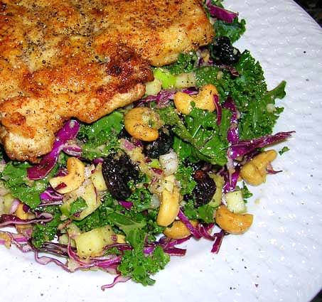 Kale-Salad-w-Dried-Cherries,-Cashews,-Apple,-Curry