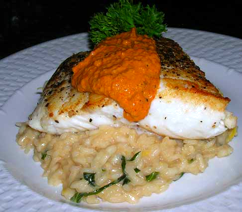 Halibut-with-Romesco-Sauce-on-Lemon-Basil-Risotto